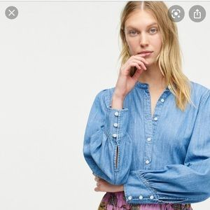 Jcrew Point sur Chambray Puffed sleeves shirt